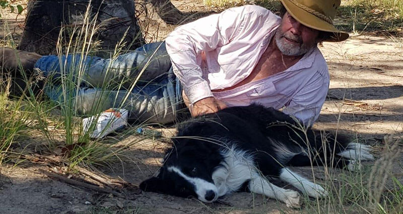 Chris Davies and his faithful assistant take some post-hack recovery-time